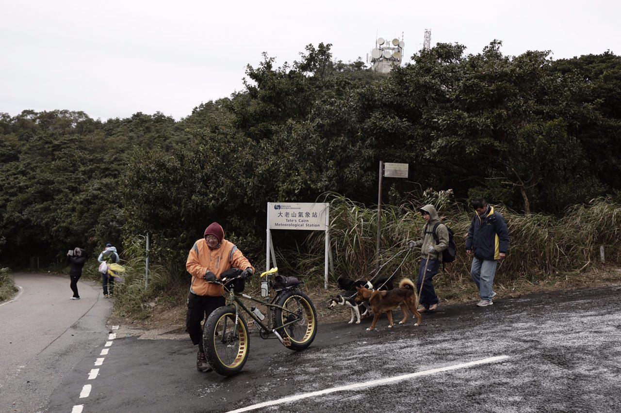 2016年1月24日,香港氣溫急降,飛鵝山路面結冰,仍有登山人士帶同單車及狗隻上山。攝:Anthony Kwan/端傳媒