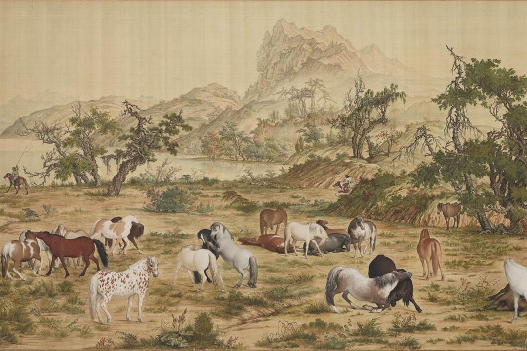 清  郎世寧  百駿圖-國立故宮博物院圖片