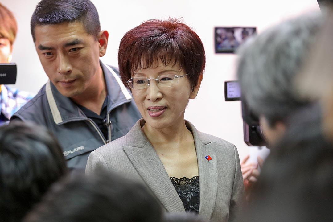 十月六日,洪秀柱出席在競選總部的演説。 攝 : 張國耀/端傳媒