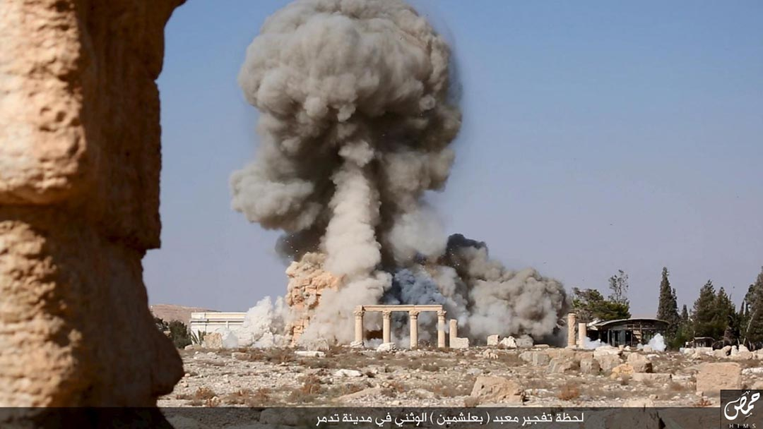 2015年8月26日,伊斯蘭國家武裝組織通過社交媒體上發佈照片,聲稱破壞敘利亞巴爾米拉羅馬時代的寺廟。REUTERS