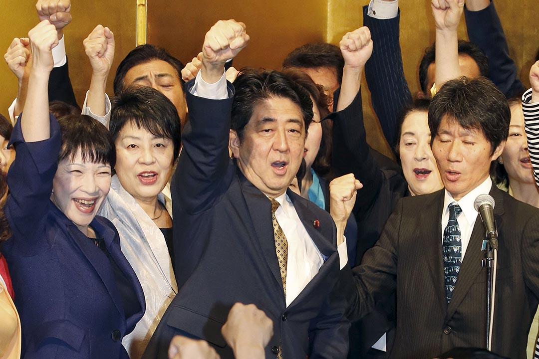 安倍晉三在沒有競爭對手情況下自動連任自民黨總裁。攝:Kyodo/REUTERS