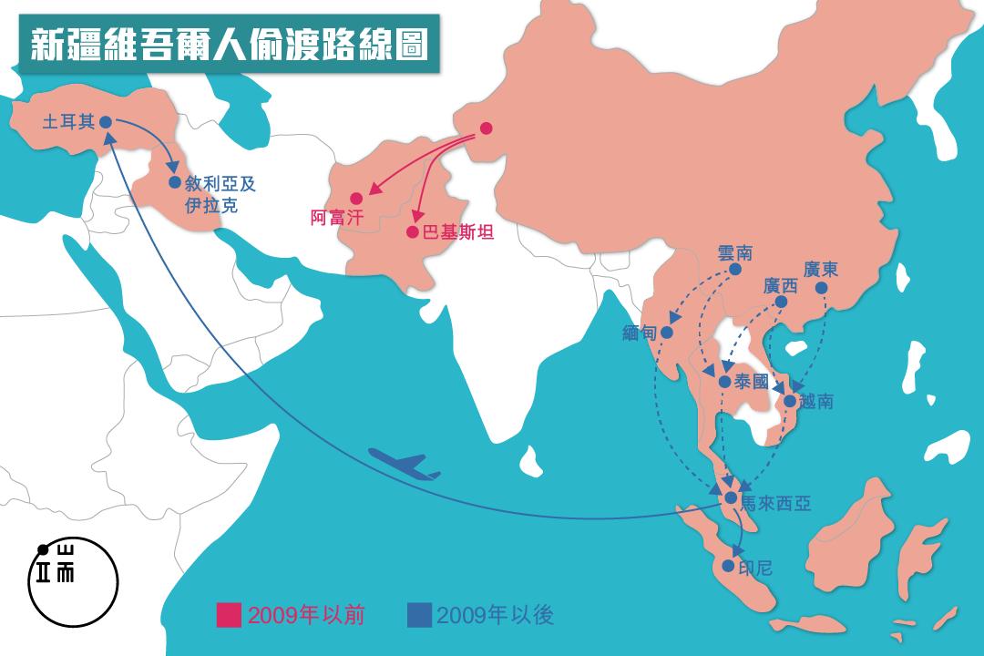 新疆維吾爾人偷渡路線圖。圖:端傳媒設計部
