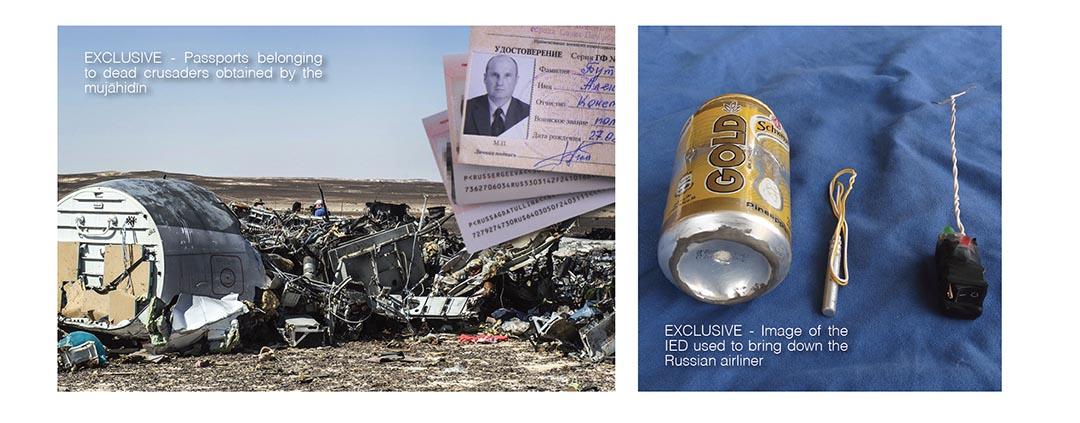 IS 在最新一期《Dabiq》雜誌聲稱以汽水罐炸彈炸毀了俄羅斯客機。《Dabiq》雜誌網頁截圖