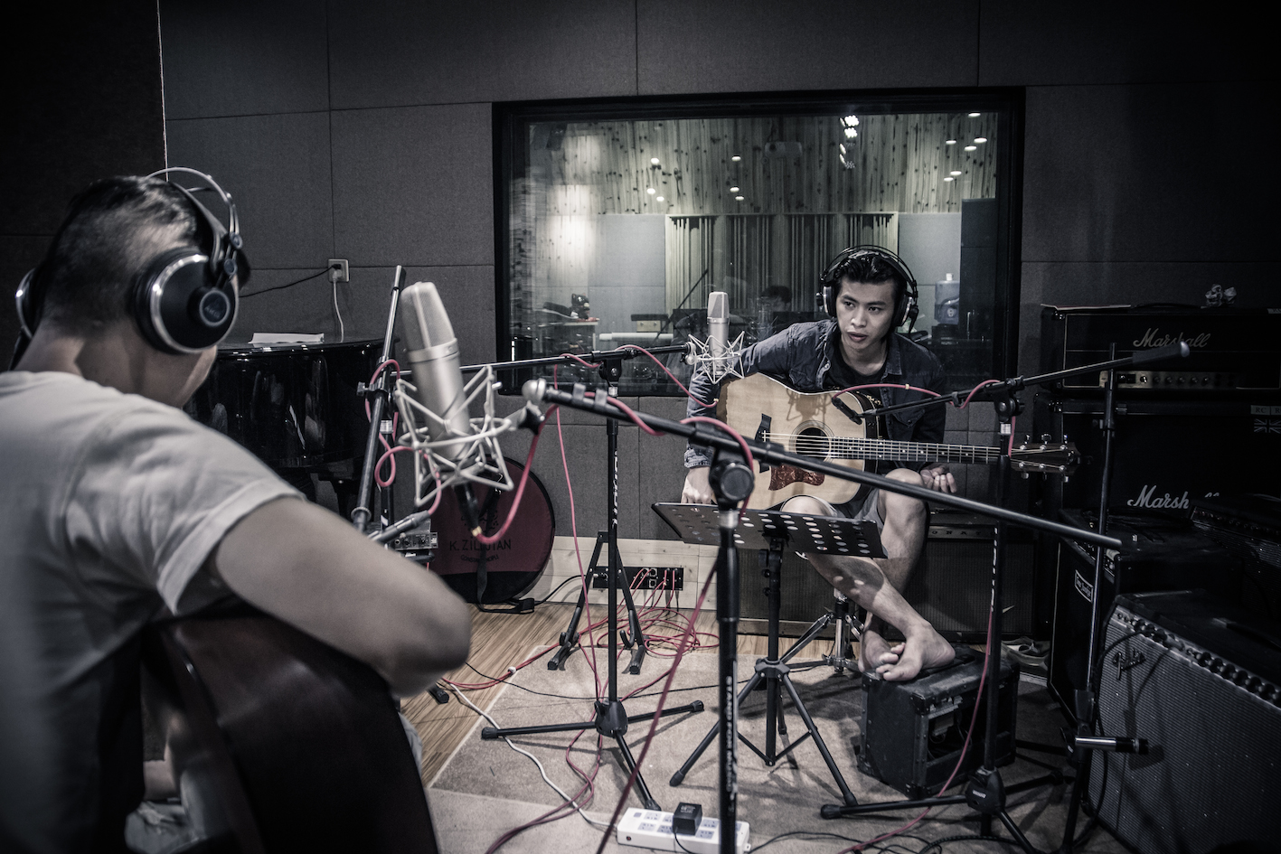 五條人樂隊錄製音樂肖像計劃中的歌曲《陳木蓮》(攝:盧冠廷)