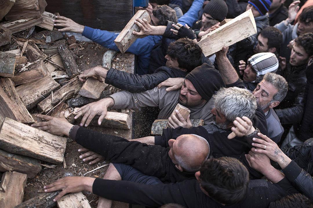 2016年3月6日,希臘與馬其頓邊境,難民們爭相搶奪用作生火的木頭。攝:Dan Kitwood/GETTY
