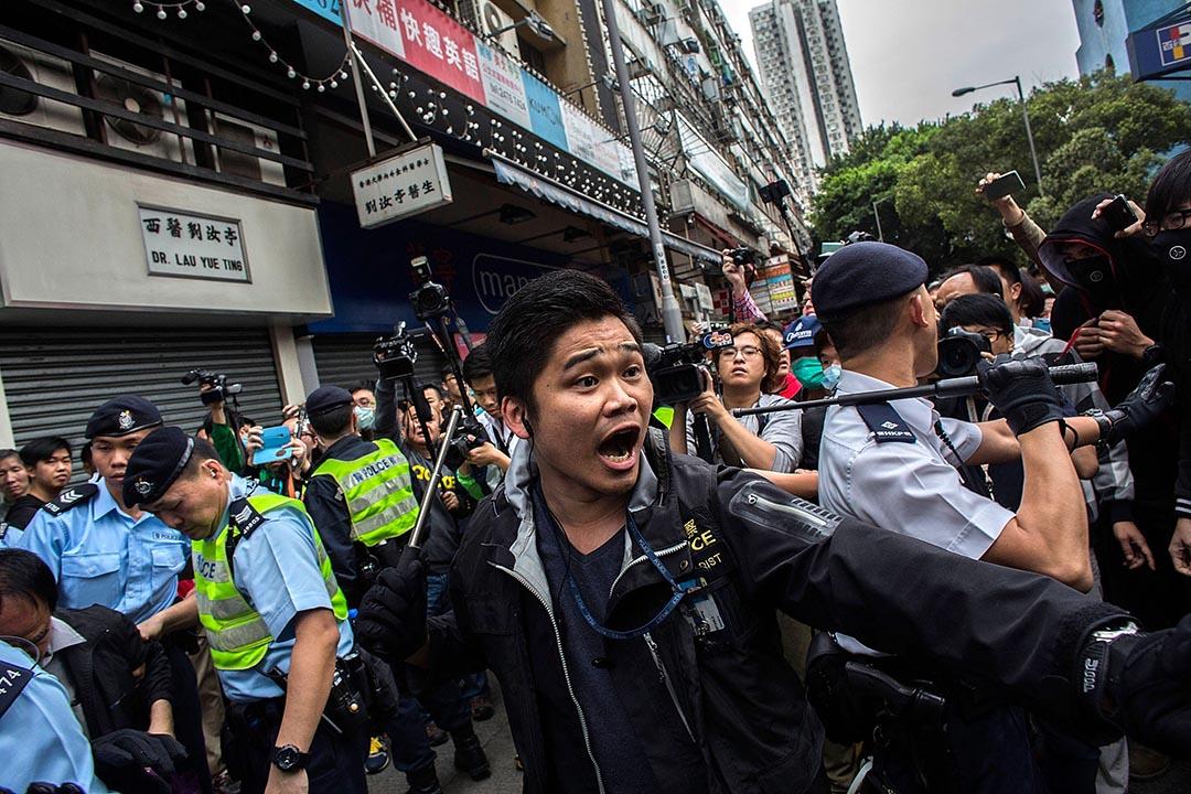 「光復元朗」反水貨客示威中警察與示威者發生衝突。攝: Lam Yik Fei/Getty Images