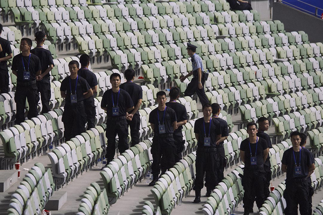 比賽後,場內保安。攝 : 葉家豪/端傳媒