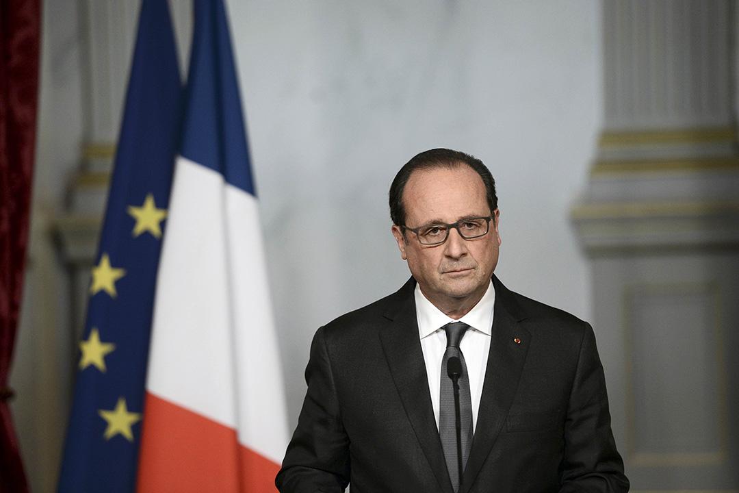 2015年11月14日,巴黎,法國總統奧朗德在恐襲發生翌日發表公開講話。攝:Stephane de Sakutin/REUTERS
