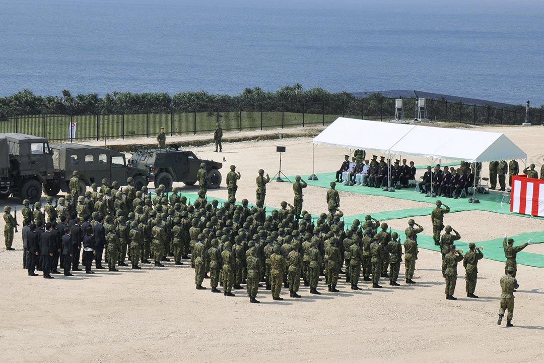 3月28日,日本正式啟用建於沖繩縣與那國島的軍事雷達觀測站。攝 : Kyodo/REUTERS