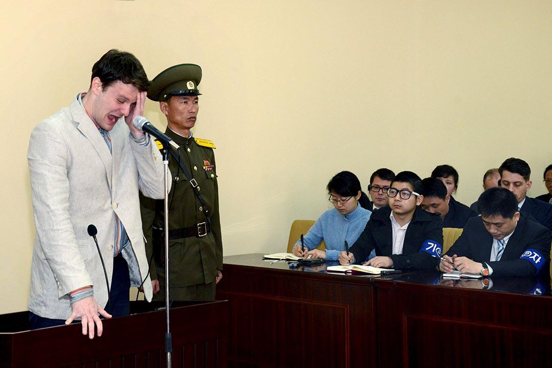 3月16日,北韓最高法院以「陰謀顛覆國家罪」判處美國大學生奧托•瓦姆比爾(Otto Frederick Warmbier)15年勞動教養。攝: KCNA/REUTERS