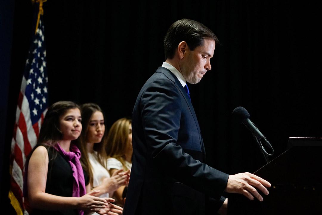 2016年3月15日,美國共和黨總統參選人魯比奧宣布退出選舉 。攝:Angel Valentin/Getty