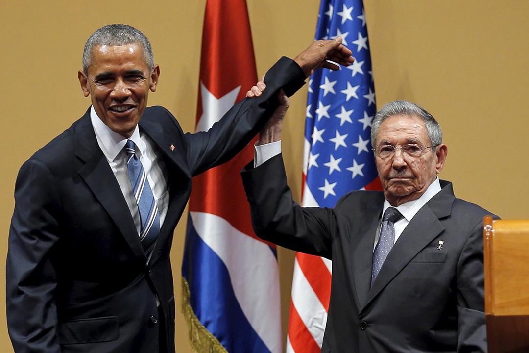2016年3月21日,古巴領導人勞爾•卡斯特羅與美國總統奧巴馬會面後舉行記者會。攝:Carlos Barria/REUTER