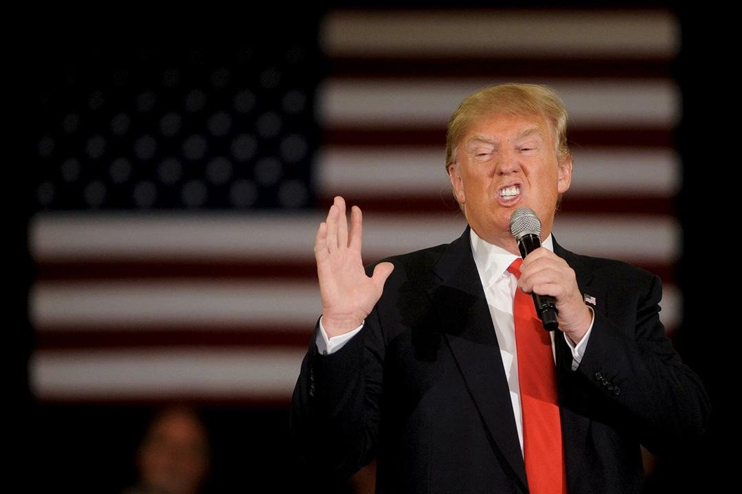 2016年3月30日,美國威斯康辛州,共和黨總統參選人特朗普在拉票活動上演講。攝:Mark Kauzlarich/REUTERS