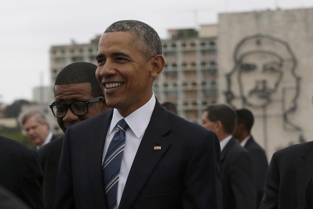 2016年3月21日,美國總統奧巴馬在夏灣拿革命廣場參與紀念古巴民族英雄何塞·馬蒂的活動。攝:Ivan Alvarado/REUTERS