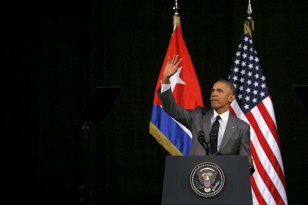 2016年3月22日,古巴夏灣拿大劇院,美國總統奧巴馬發表演講。攝:Carlos Barria /REUTERS