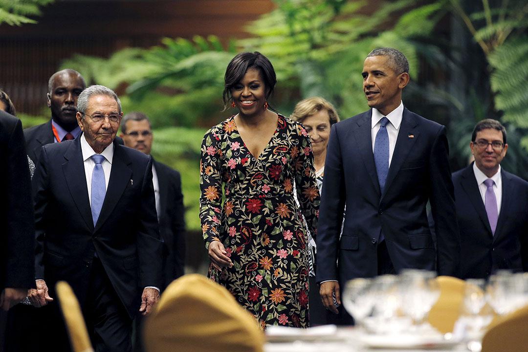 2016年3月21日,古巴領導人勞爾設晚宴款待美國總統奧巴馬及其夫人米歇爾。攝:Carlos Barria/REUTERS