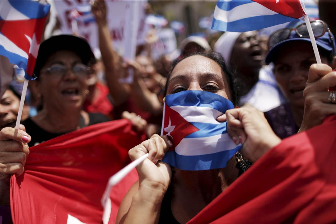 2016年3月20日,古巴夏灣拿,人權組織「白衣女士」在奧巴馬到訪當日舉行遊行。攝:Ueslei Marcelino /REUTERS