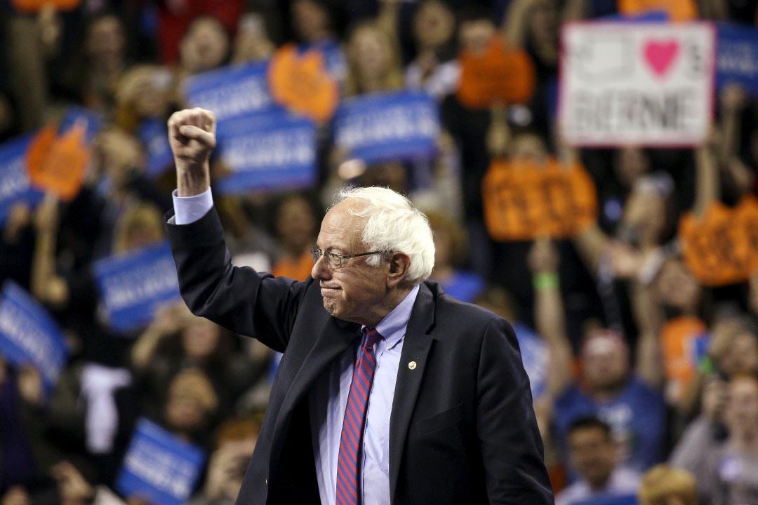 美國民主黨總統參選人伯尼·桑德斯 。攝:David Ryder/REUTERS