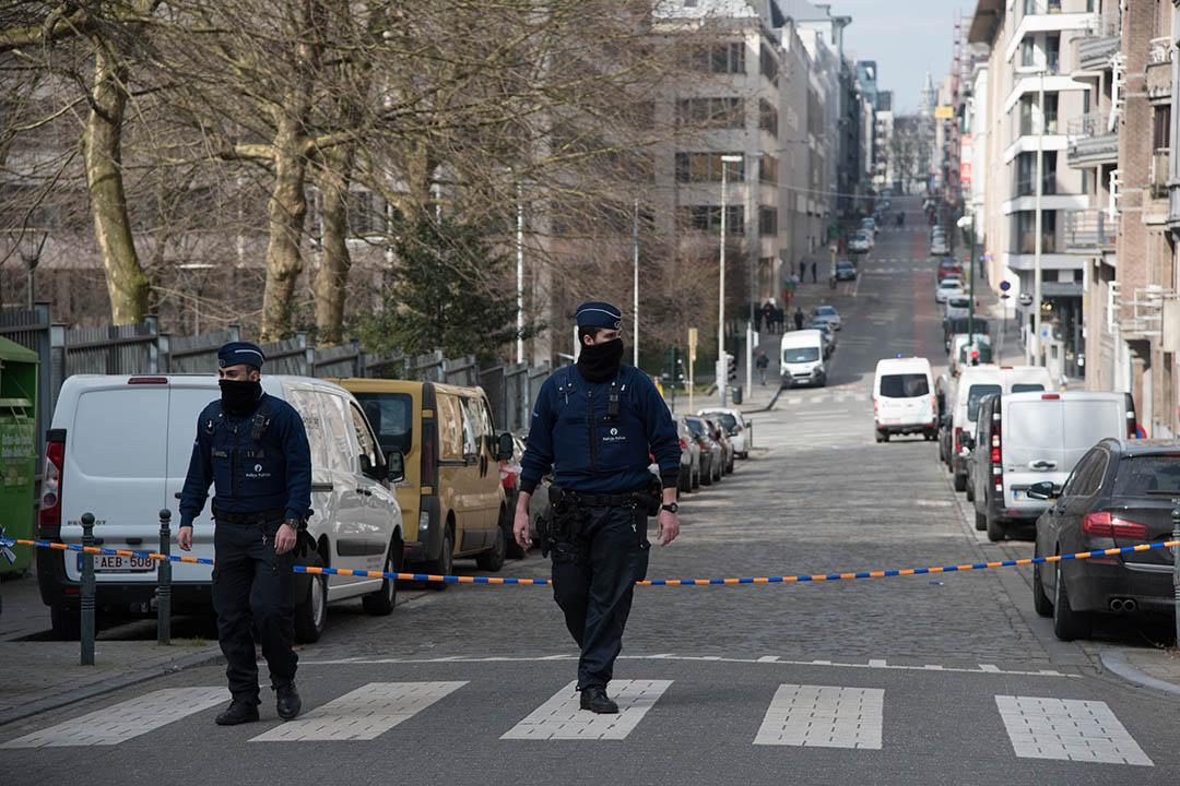 2016年3月22日,比利時,布魯塞爾機場發生爆炸後警方加強市內保安。攝:洪滋敏/端傳媒