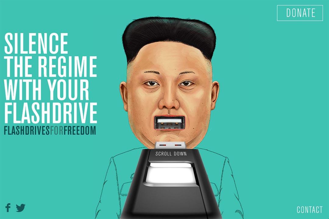 """美國公益組織計劃募集2萬個 USB 記憶體,擬存入外界資訊偷運進北韓。""""Flash Drive for Freedom""""活動綱頁截圖"""