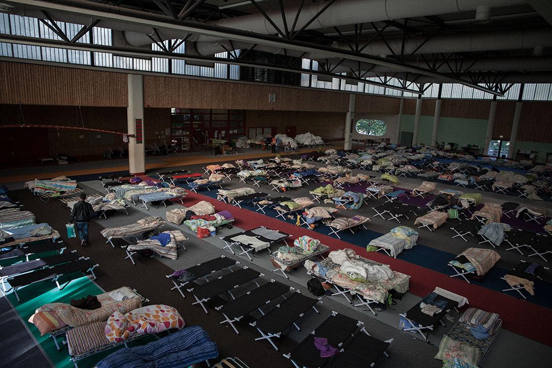 2015年9月24日,柏林,德國的非政府組織於奧林匹亞體育場內設立緊急難民營,以供來自伊拉克、敘利亞,巴基斯坦等地區的難民入住。攝:Ashley Gilbertson / VII Photo for UNICEF