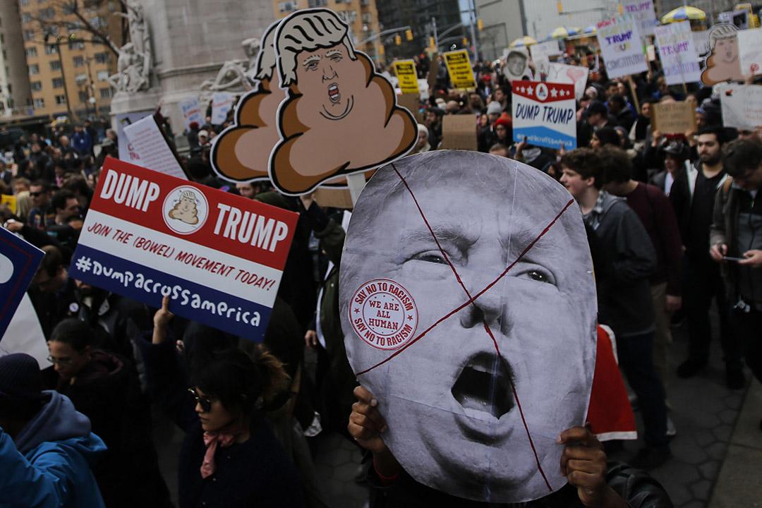 2016年3月19日,美國紐約,反特朗普示威遊行。攝:Eduardo Munoz Alvarez/GETTY