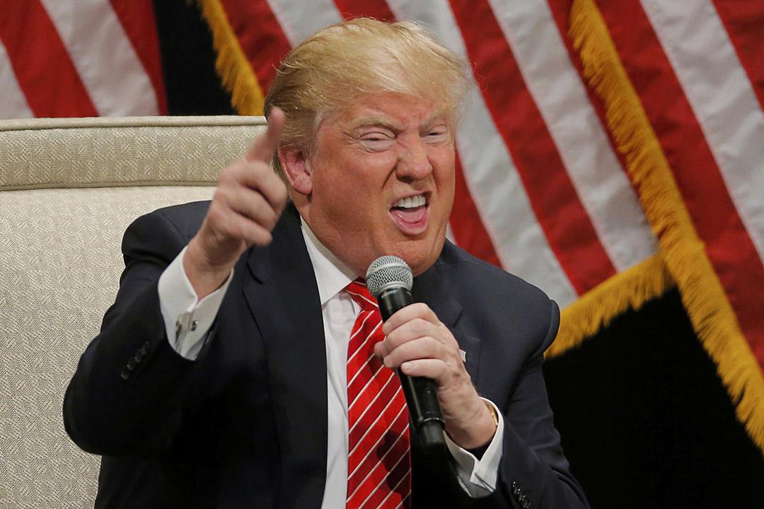 2016年3月14日,美國北卡羅萊納州,共和黨總統候選人特朗普在希科里(Hickory)的競選活動上演講。攝:Chris Keane/REUTERS
