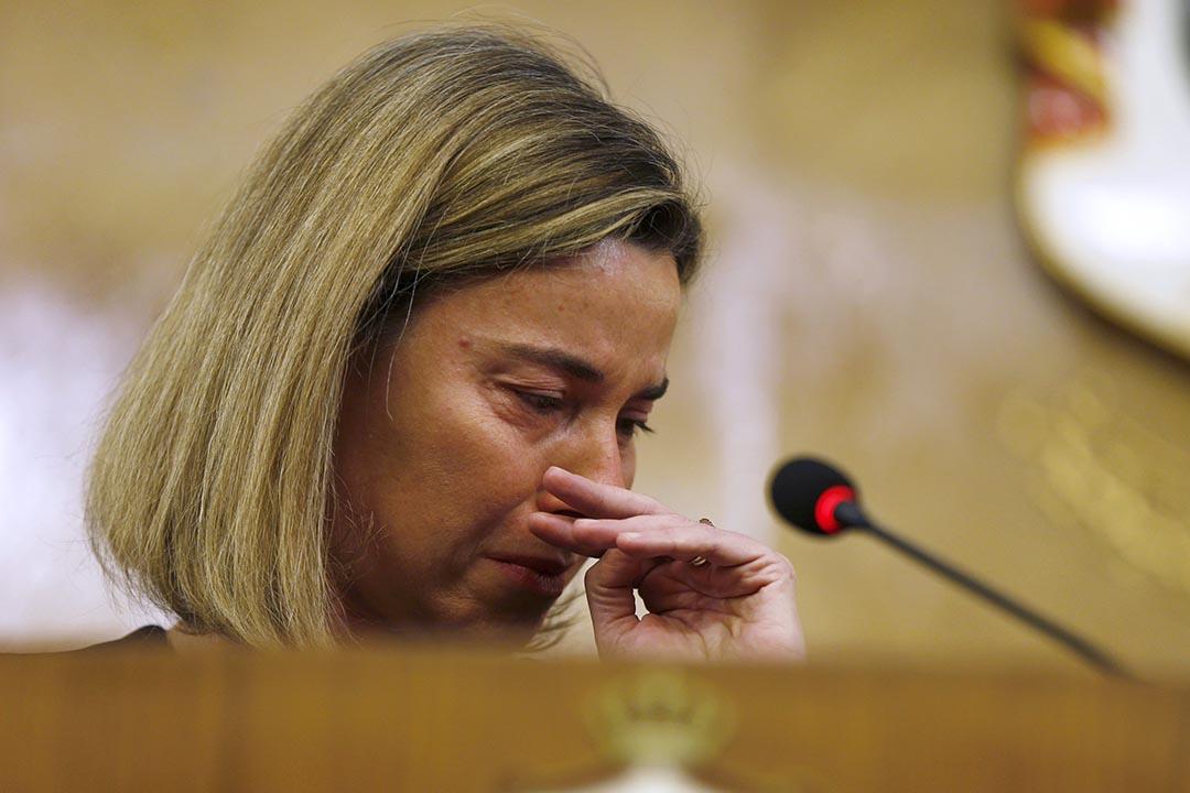 2016年3月22日,歐盟外交事務首長莫格里妮(Federica Mogherini)在爆炸發生後會見傳媒。攝:Muhammad Hamed/REUTERS