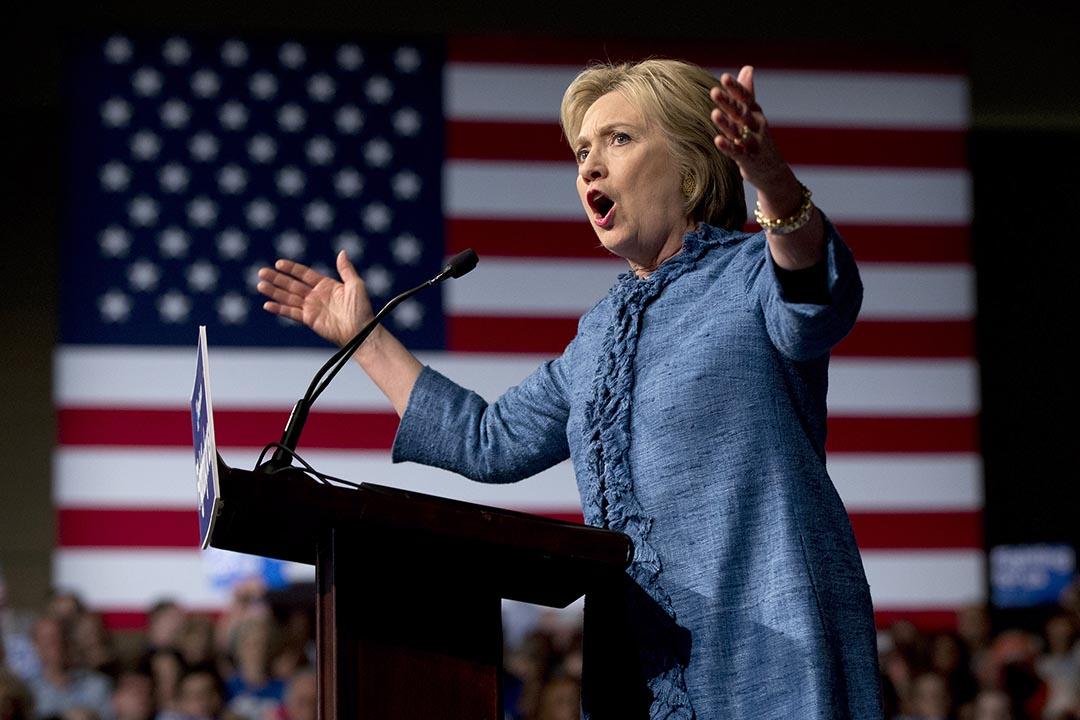 2016年3月15日,美國民主黨總統參選人希拉莉在發表演說。攝:Carolyn Kaster/AP