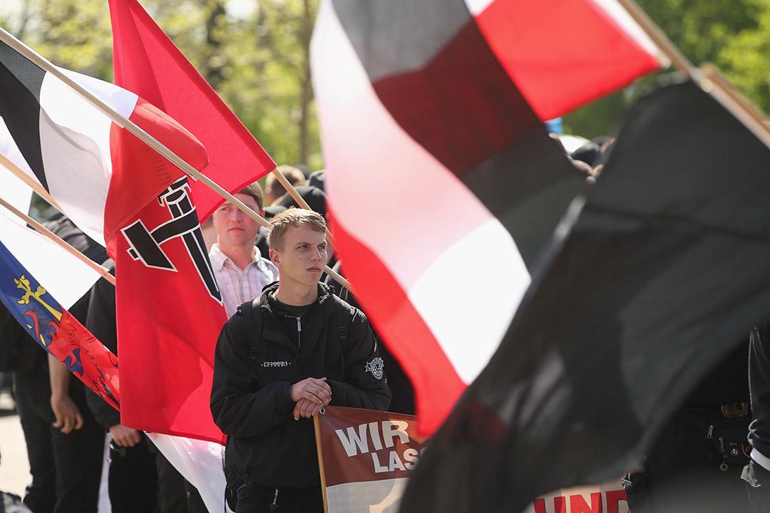 2014年5月1日,德國,新納粹政黨「國家民主黨」的支持者舉行遊行。攝:Sean Gallup/GETTY