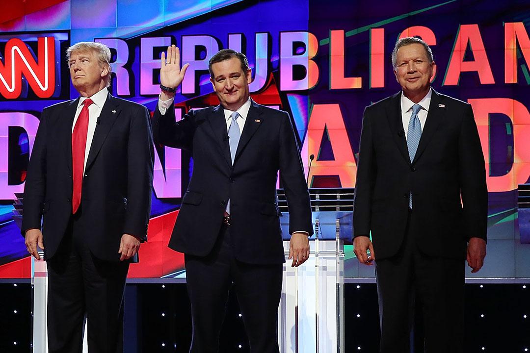為阻止共和黨總統參選人特朗普(Donald Trump)在初選中獲得過半選舉人票,克魯斯(Ted Cruz)和卡西奇(John Kasich)宣布合作。攝:Billy H.C. Kwok/端傳媒Joe Raedle/Getty