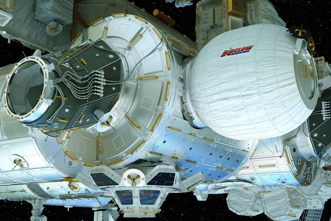 """美國太空探索科技公司 SpaceX 成功發射「獵鷹9號」火箭(Falcon 9),其搭載的「天龍號」貨運飛船(Dragon Spacecraft)首次將充氣式太空艙送入國際空間站。圖為充氣式太空艙所在的可擴展式活動模塊""""BEAM""""(Bigelow Expandable Activity Module)。 攝:Bigelow Aerospace via AP"""