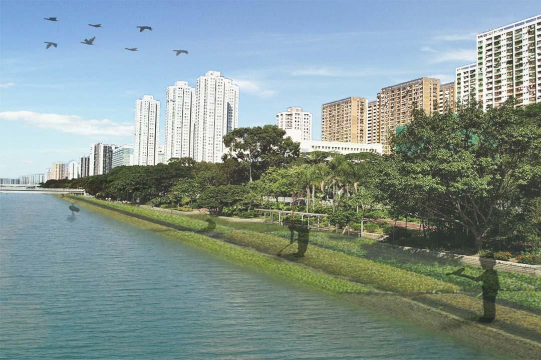 示意圖:引入生態推動農業,恢復河灘濕地及河流生態系統。研究團隊製圖