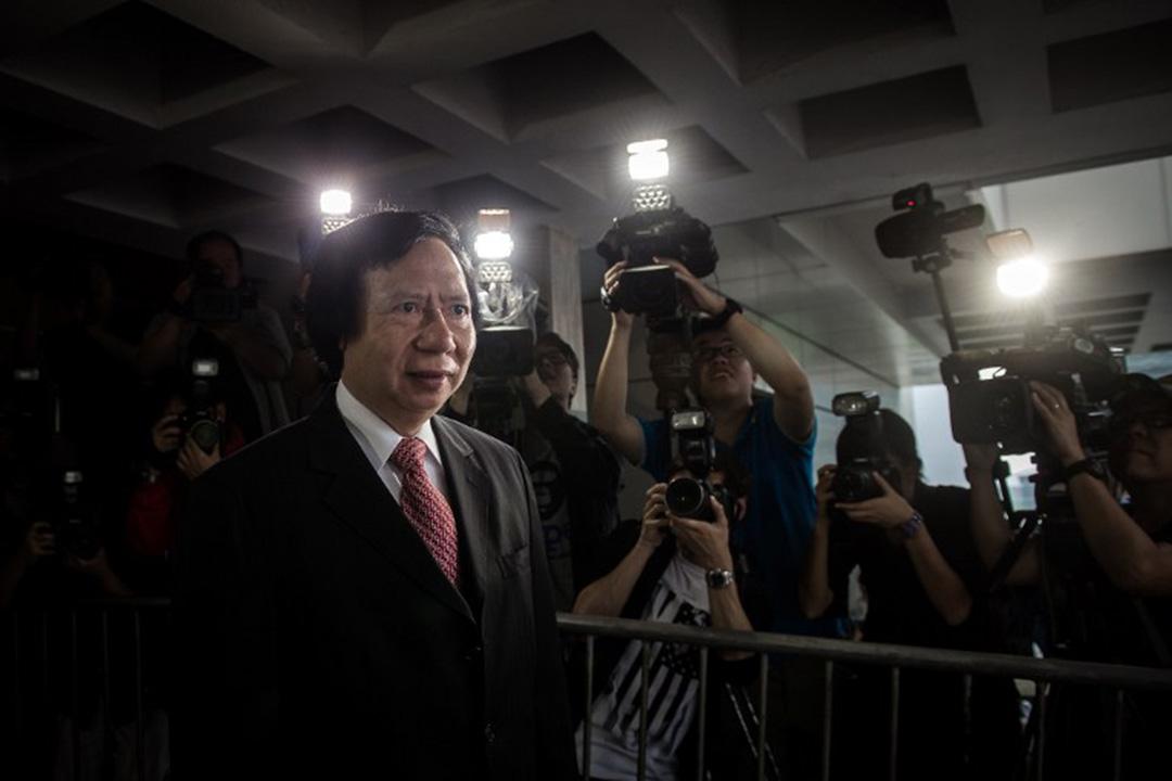 2014年5月8日,香港,被控貪污的新鴻基地產聯席主席郭炳江抵達高等法院應訊。攝:Philippe Lopez / AFP