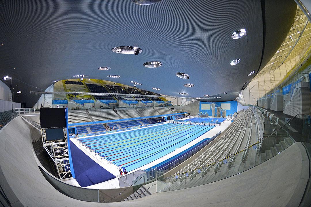圖為2012年英國倫敦奧運泳池,由薩哈•哈帝設計。攝:Toby Melville/REUTERS