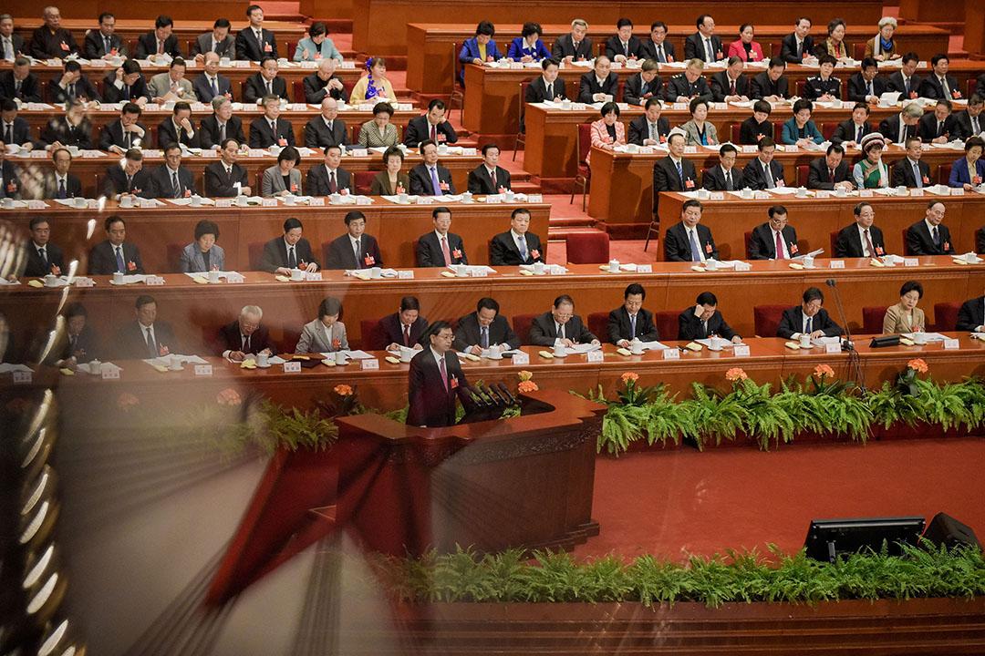 2016年3月9日,北京,全國人大常委會委員長張德江發表工作報告。攝:Etienne Oliveau/GETTY