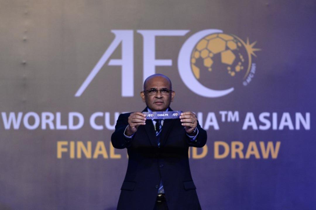 2018世界杯亞洲區預選賽12強,中國隊將與伊朗、韓國、烏茲別克斯坦、卡塔爾和敘利亞同組。攝:MOHD RASFAN/AFP