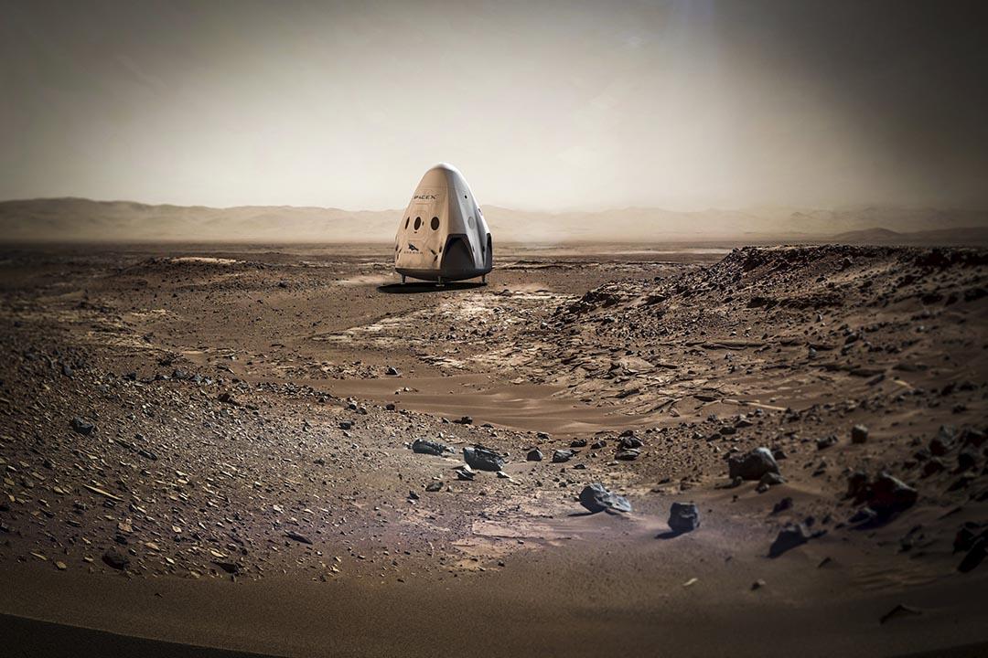 SpaceX 公司的天龍(Dragon)無人太空船登陸火星的設計預想圖。設計圖片:SpaceX/Reuters