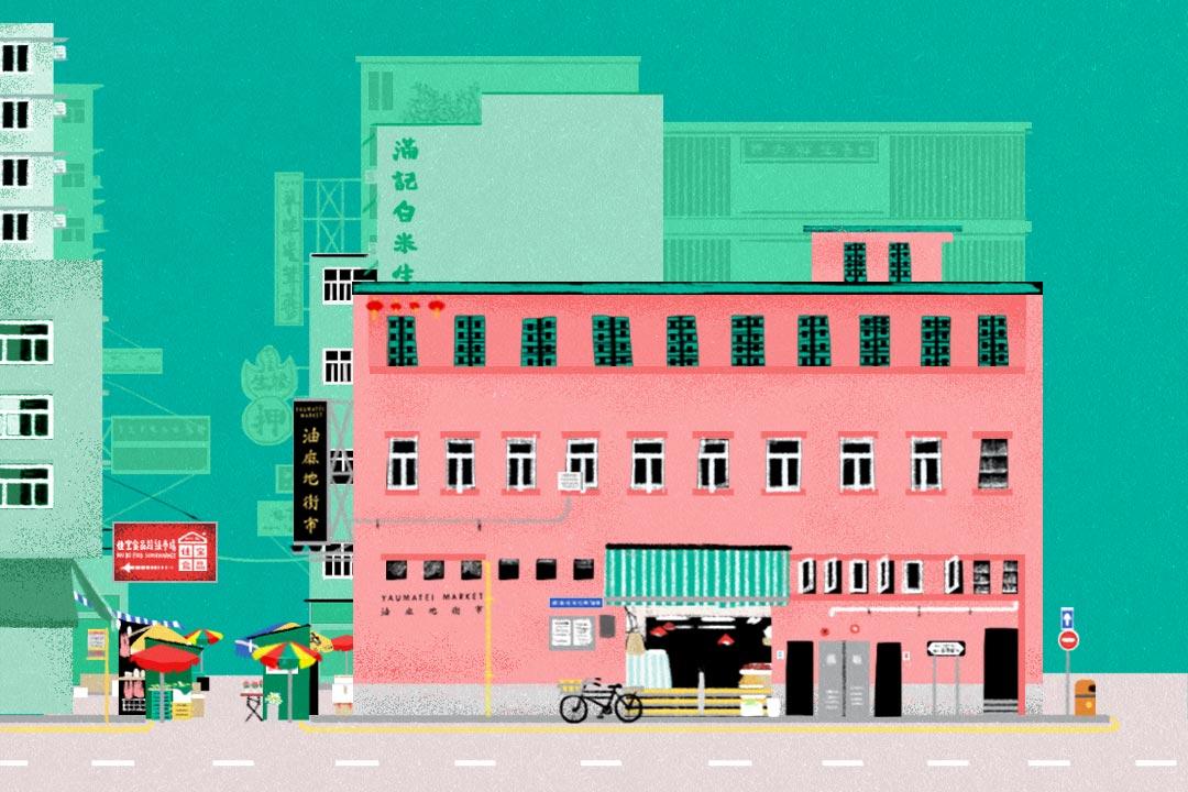 1957年落成的油麻地街市,仍保持1950年代的空間和風格,只是內裡的人流早已不甚興旺。圖:Sarene Chan / 端傳媒