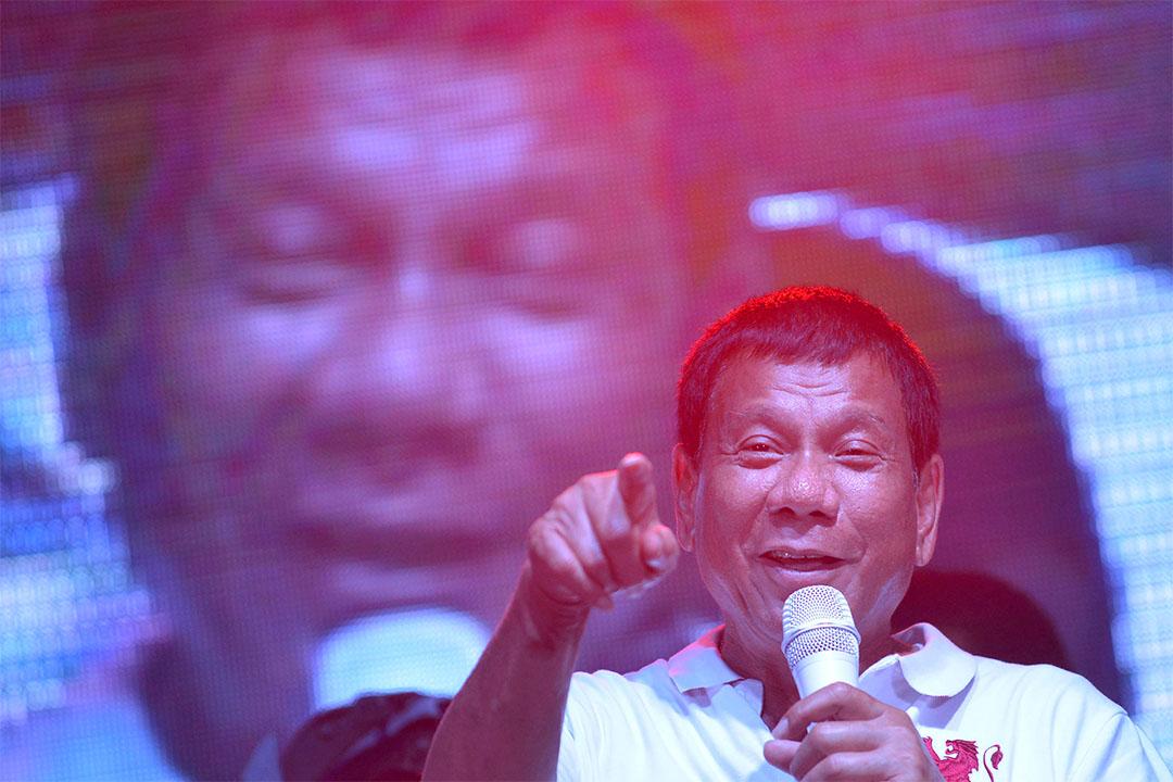 圖為杜特地在五月初競選活動中演講。