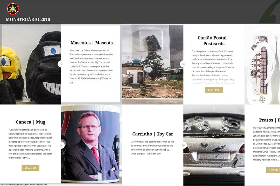 巴西喜劇演員建立反奧運會紀念品店,圖為網站內銷售的部分商品。