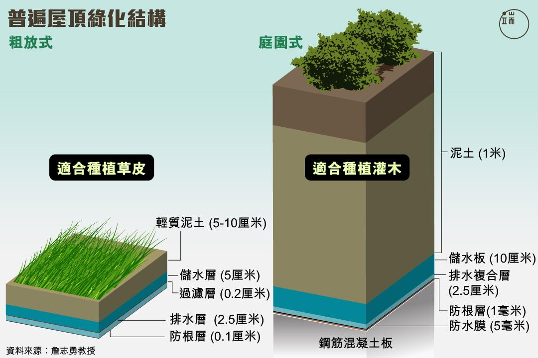 普遍屋頂綠化結構。