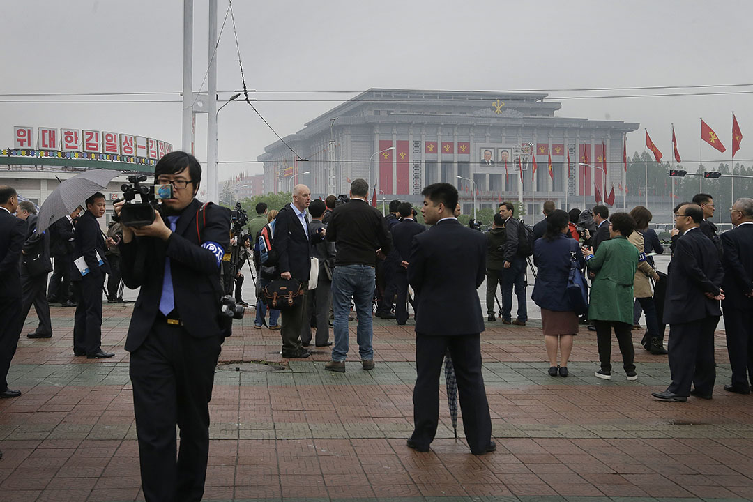 在北韓邀請之下,約100多名世界各地媒體記者正於平壤採訪今次勞動黨黨代會。攝:Wong Maye-E/ AP