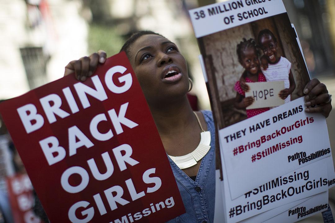 圖為2016年4月14日,英國倫敦,示威者集會呼籲立即釋放被綁架的276名尼日利亞女孩。