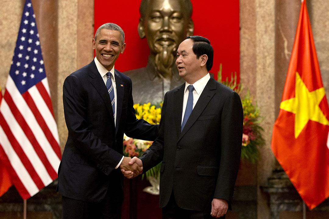 2016年5月23日,正在越南進行為期三天訪問的美國總統奧巴馬,在河內與越南國家主席陳大光會面。