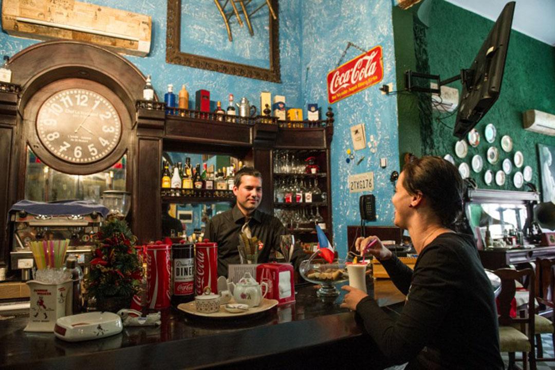 圖為古巴哈瓦那一間私人經營的餐廳。