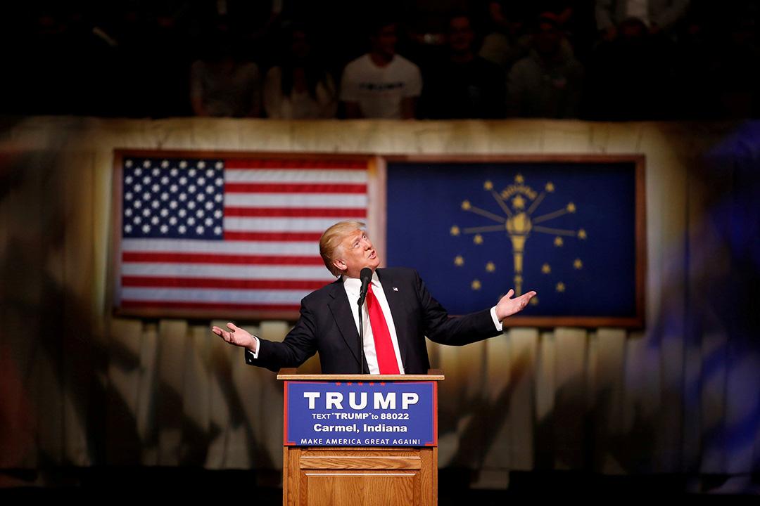 2016年5月2日,美國共和黨總統參選人特朗普在印第安納州表演藝術中心演講。攝:Aaron P. Bernstein/REUTERS