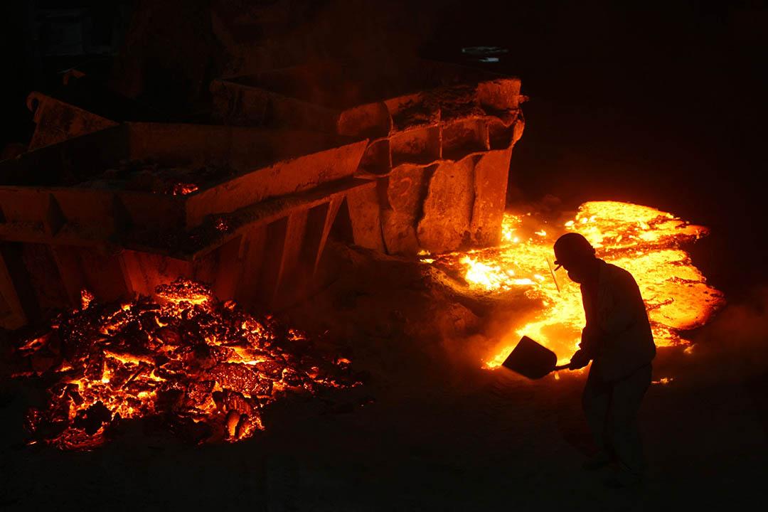 中國一間鋼材料工廠。