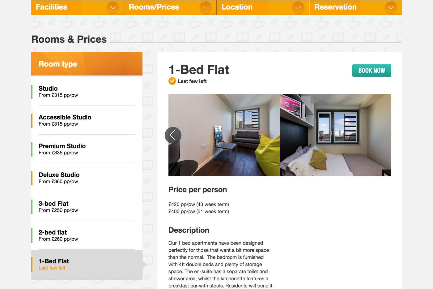 網站內可以看到豪華公寓租金和室內裝修。