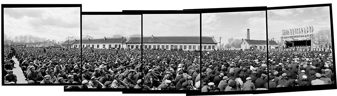 1965年5月21日,黑龍江省阿城縣,四清運動萬人對敵鬥爭大會。